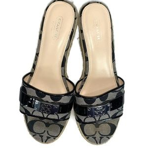 Coach Christie Black C Logo Wedge Sandals 8B
